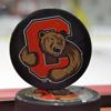 Cornell bear logo hockey puck